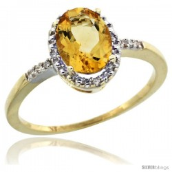 10k Yellow Gold Diamond Citrine Ring 1.17 ct Oval Stone 8x6 mm, 3/8 in wide