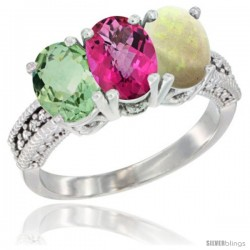 14K White Gold Natural Green Amethyst, Pink Topaz & Opal Ring 3-Stone 7x5 mm Oval Diamond Accent
