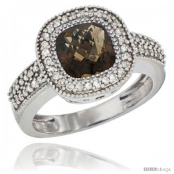10K White Gold Natural Smoky Topaz Ring Cushion-cut 7x7 Stone Diamond Accent