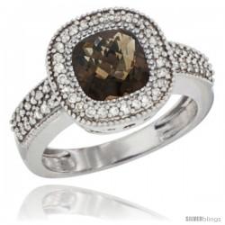 10K White Gold Natural Smoky Topaz Ring Cushion-cut 7x7 Stone Diamond Accent