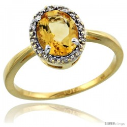 10k Yellow Gold Diamond Halo Citrine Ring 1.2 ct Oval Stone 8x6 mm, 1/2 in wide