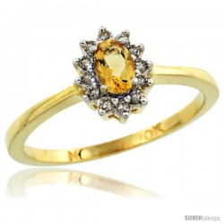 10k Yellow Gold Diamond Halo Citrine Ring 0.25 ct Oval Stone 5x3 mm, 5/16 in wide