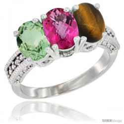 14K White Gold Natural Green Amethyst, Pink Topaz & Tiger Eye Ring 3-Stone 7x5 mm Oval Diamond Accent