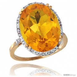 10k Yellow Gold Diamond Halo Large Natural Citrine Ring 10.3 ct Oval Stone 18x13 mm, 3/4 in wide