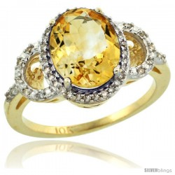 10k Yellow Gold Diamond Halo Citrine Ring 2.4 ct Oval Stone 10x8 mm, 1/2 in wide