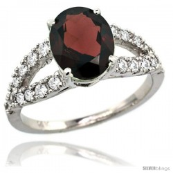 14k White Gold Natural Garnet Ring 10x8 mm Oval Shape Diamond Accent, 3/8inch wide