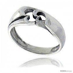 Sterling Silver Double Heart Cut-out Ring 5/16 in wide