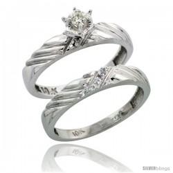 10k White Gold Ladies' 2-Piece Diamond Engagement Wedding Ring Set, 1/8 in wide -Style Ljw118e2