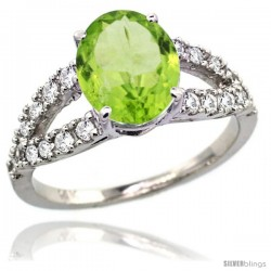 14k White Gold Natural Peridot Ring 10x8 mm Oval Shape Diamond Accent, 3/8inch wide
