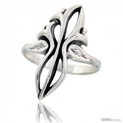 Sterling Silver Tribal Design Ring 1 1/16 in wide