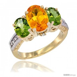 14K Yellow Gold Ladies 3-Stone Oval Natural Citrine Ring with Peridot Sides Diamond Accent