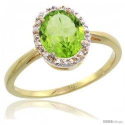14k Yellow Gold Peridot Diamond Halo Ring 1.17 Carat 8X6 mm Oval Shape, 1/2 in wide