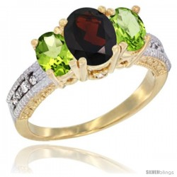 14k Yellow Gold Ladies Oval Natural Garnet 3-Stone Ring with Peridot Sides Diamond Accent