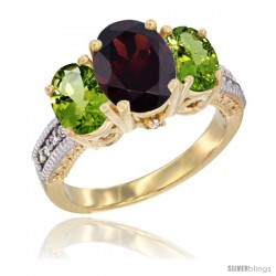 14K Yellow Gold Ladies 3-Stone Oval Natural Garnet Ring with Peridot Sides Diamond Accent