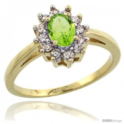 14k Yellow Gold Peridot Diamond Halo Ring Oval Shape 1.2 Carat 6X4 mm, 1/2 in wide