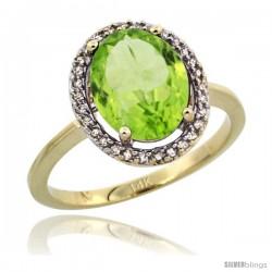 14k Yellow Gold Diamond Halo Peridot Ring 2.4 carat Oval shape 10X8 mm, 1/2 in (12.5mm) wide