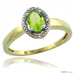 14k Yellow Gold Diamond Halo Peridot Ring 0.75 Carat Oval Shape 6X4 mm, 3/8 in (9mm) wide