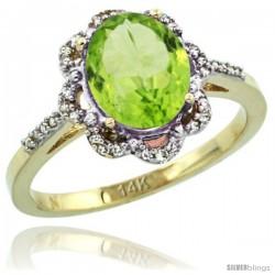 14k Yellow Gold Diamond Halo Peridot Ring 1.65 Carat Oval Shape 9X7 mm, 7/16 in (11mm) wide