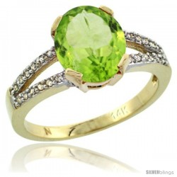 14k Yellow Gold and Diamond Halo Peridot Ring 2.4 carat Oval shape 10X8 mm, 3/8 in (10mm) wide
