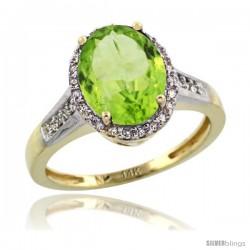 14k Yellow Gold Diamond Peridot Ring 2.4 ct Oval Stone 10x8 mm, 1/2 in wide