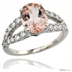 14k White Gold Natural Morganite Ring 10x8 mm Oval Shape Diamond Accent, 3/8inch wide