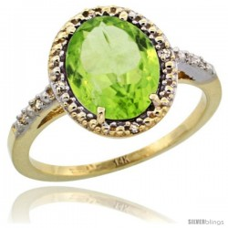 14k Yellow Gold Diamond Peridot Ring 2.4 ct Oval Stone 10x8 mm, 1/2 in wide -Style Cy411111