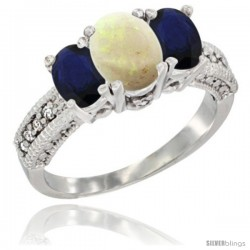 14k White Gold Ladies Oval Natural Opal 3-Stone Ring with Blue Sapphire Sides Diamond Accent
