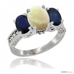 14K White Gold Ladies 3-Stone Oval Natural Opal Ring with Blue Sapphire Sides Diamond Accent