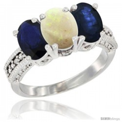 14K White Gold Natural Opal & Blue Sapphire Sides Ring 3-Stone 7x5 mm Oval Diamond Accent