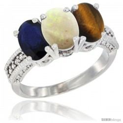 14K White Gold Natural Blue Sapphire, Opal & Tiger Eye Ring 3-Stone 7x5 mm Oval Diamond Accent