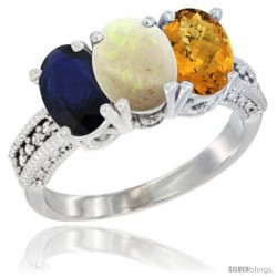 14K White Gold Natural Blue Sapphire, Opal & Whisky Quartz Ring 3-Stone 7x5 mm Oval Diamond Accent