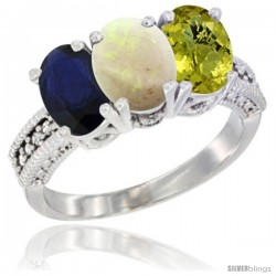 14K White Gold Natural Blue Sapphire, Opal & Lemon Quartz Ring 3-Stone 7x5 mm Oval Diamond Accent