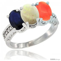 14K White Gold Natural Blue Sapphire, Opal & Coral Ring 3-Stone 7x5 mm Oval Diamond Accent