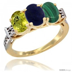 10K Yellow Gold Natural Lemon Quartz, Lapis & Malachite Ring 3-Stone Oval 7x5 mm Diamond Accent