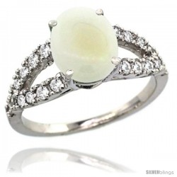 14k White Gold Natural Opal Ring 10x8 mm Oval Shape Diamond Accent, 3/8inch wide