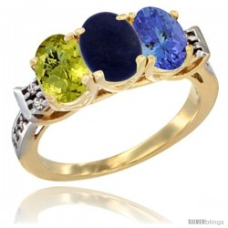 10K Yellow Gold Natural Lemon Quartz, Lapis & Tanzanite Ring 3-Stone Oval 7x5 mm Diamond Accent