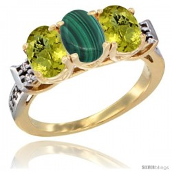 10K Yellow Gold Natural Malachite & Lemon Quartz Sides Ring 3-Stone Oval 7x5 mm Diamond Accent