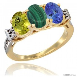 10K Yellow Gold Natural Lemon Quartz, Malachite & Tanzanite Ring 3-Stone Oval 7x5 mm Diamond Accent
