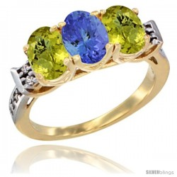 10K Yellow Gold Natural Tanzanite & Lemon Quartz Sides Ring 3-Stone Oval 7x5 mm Diamond Accent