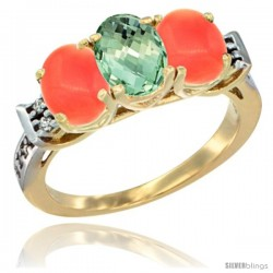 10K Yellow Gold Natural Green Amethyst & Coral Sides Ring 3-Stone Oval 7x5 mm Diamond Accent
