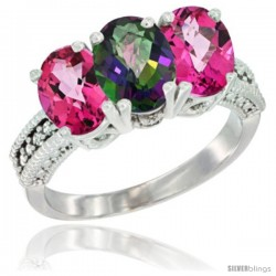 14K White Gold Natural Mystic Topaz & Pink Topaz Sides Ring 3-Stone 7x5 mm Oval Diamond Accent