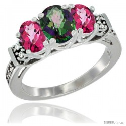 14K White Gold Natural Mystic Topaz & Pink Topaz Ring 3-Stone Oval with Diamond Accent