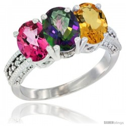 14K White Gold Natural Pink Topaz, Mystic Topaz & Citrine Ring 3-Stone 7x5 mm Oval Diamond Accent