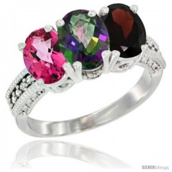 14K White Gold Natural Pink Topaz, Mystic Topaz & Garnet Ring 3-Stone 7x5 mm Oval Diamond Accent