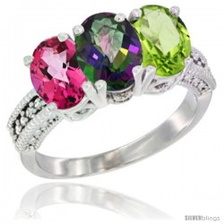 14K White Gold Natural Pink Topaz, Mystic Topaz & Peridot Ring 3-Stone 7x5 mm Oval Diamond Accent