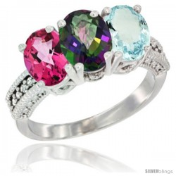 14K White Gold Natural Pink Topaz, Mystic Topaz & Aquamarine Ring 3-Stone 7x5 mm Oval Diamond Accent