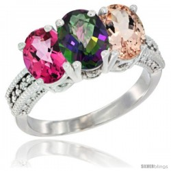 14K White Gold Natural Pink Topaz, Mystic Topaz & Morganite Ring 3-Stone 7x5 mm Oval Diamond Accent