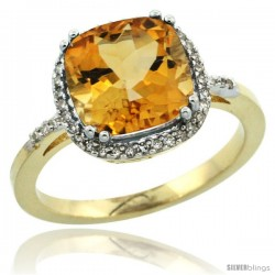 10k Yellow Gold Diamond Citrine Ring 3.05 ct Cushion Cut 9x9 mm, 1/2 in wide