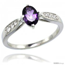 14k White Gold Natural Amethyst Ring 7x5 Oval Shape Diamond Accent, 5/16inch wide