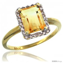 10k Yellow Gold Diamond Citrine Ring 1.6 ct Emerald Shape 8x6 mm, 1/2 in wide